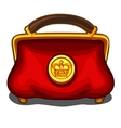 Red handbag with royal golden seal vector image vector image