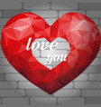 red origami heart on light background of bricks vector image vector image