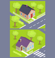 set of modern houses with doors and windows 3d vector image