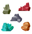 set of rocks and crystals cartoon isometric 3d vector image vector image