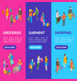 shopping people 3d banner vecrtical set isometric vector image vector image
