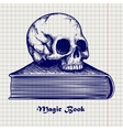 Skull on book ball pen sketch vector image vector image