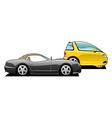 sports car and tiny car vector image vector image