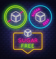 sugar free badge collection diabet sign neon sign vector image vector image