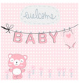 teddy bearpink baby shower card vector image