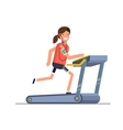 The girl goes in for sports on a treadmill while vector image vector image