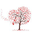 tree with leaves in shape hearts isolate vector image