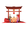 Japanese Culture Retro Composition With Pagoda vector image
