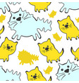 seamless pattern with cute cats on a white vector image
