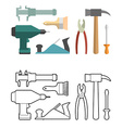 Set carpentry tools coloring book Screwdriver and vector image