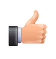 3d thumbs up icon isolated on white vector image vector image