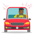 angry black man in car stuck in traffic jam vector image vector image