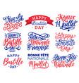 bastille day handwritten phrases calligraphy of vector image vector image