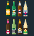 beer bottles set in flat style vector image