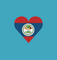belize flag icon in a heart shape in flat design vector image vector image