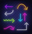 big collection neon arrows neon arrows symbols vector image vector image