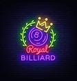 billiards neon sign royal billiards logo in neon vector image vector image