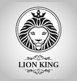 black lion king head mascot on white background vector image vector image