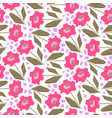 bright pattern with cute pink flowers vector image