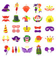 carnival masquerade big colorful set vector image vector image