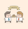 cheers two hands holding two beer bottles vector image vector image