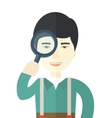 Chinese man with magnifying glass vector image