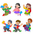collection girls and bots study vector image vector image