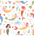 colorful seamless pattern with fairy mermaids and vector image