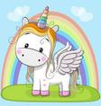 cute cartoon unicorn on the meadow vector image vector image