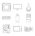 design pc and component icon set pc vector image