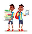 e-book reader boy afro american child vector image vector image