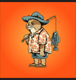 fisher cat fishing holiday vector image vector image