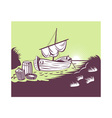 fishing boat at sea vector image vector image