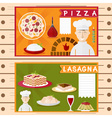 flat design posters of italian cuisine elements vector image