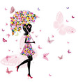 flower girl with umbrella vector image vector image