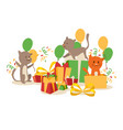 funny cats and birthday present boxes vector image