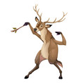 funny deer is playing with a branch like a vector image vector image