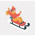 girl sledding on snow isolated on white vector image