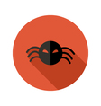 Halloween Scary Spider flat circle icon over red vector image vector image