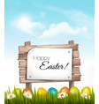 happy easter background easter eggs and a vector image vector image