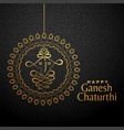 happy ganesha chaturthi golden background vector image vector image
