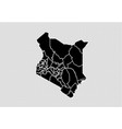 kenya map - high detailed black map with vector image vector image