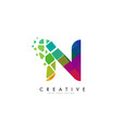 letter n design with rainbow shattered blocks vector image vector image