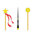 magic wand set isolated on white background vector image