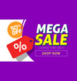 mega sale banner design with price discount offer vector image vector image