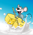 Mouse sails on raft cheese vector image vector image