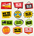 now hiring signs employment opportunity vector image