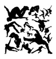 parkour activity silhouettes vector image vector image