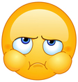 puffed out cheeks emoticon vector image vector image