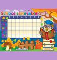 school timetable composition 2 vector image vector image